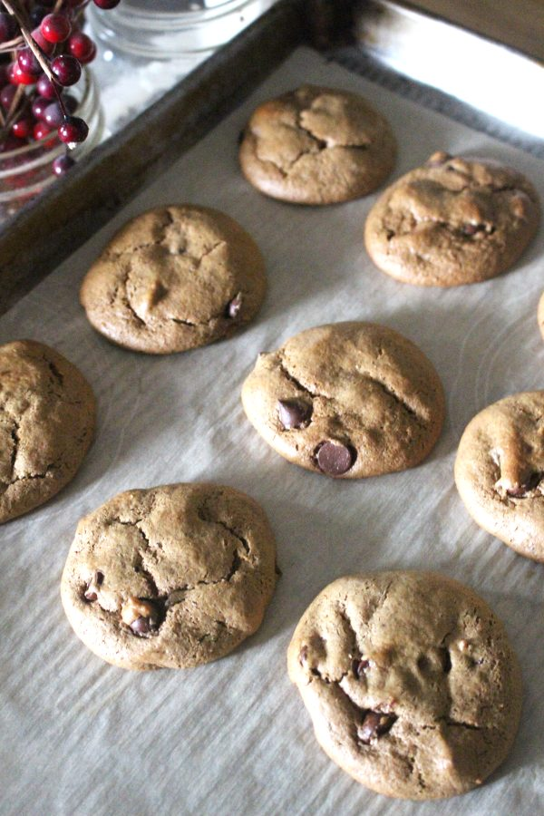 Baked almond butter cookies on tray