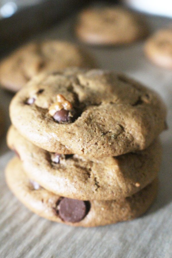 Stack of paleo chocolate chip almond butter cookies
