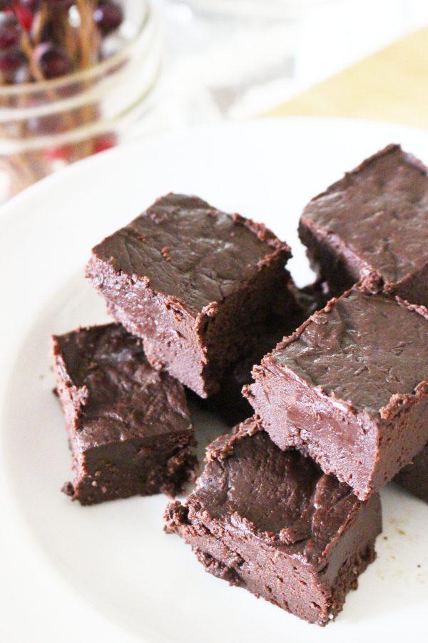 Paleo chocolate fudge on a white plate