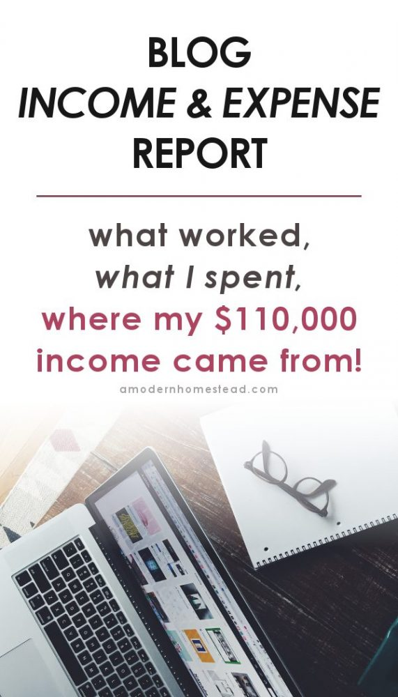 computer on desk with text overlay blogging income and expenses report for my $110,000 a year blog.