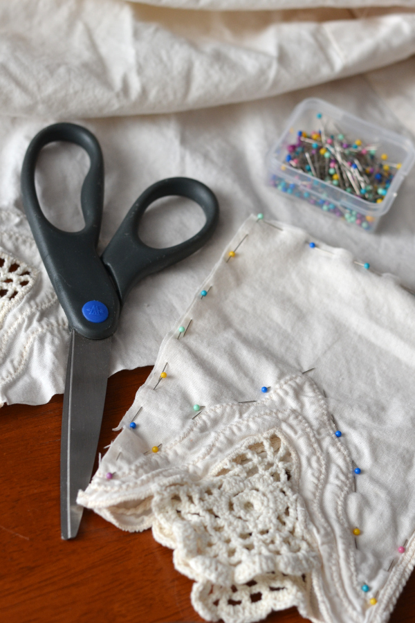 Cutting and pinning fabric for handmade sachets
