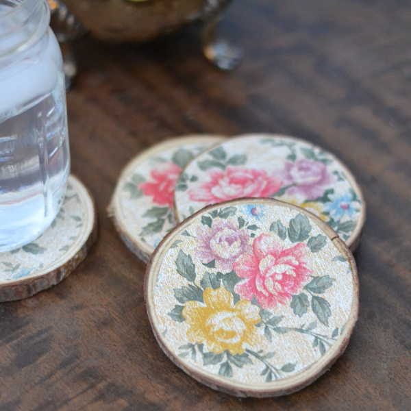 finished vintage floral wood coasters on a wood table