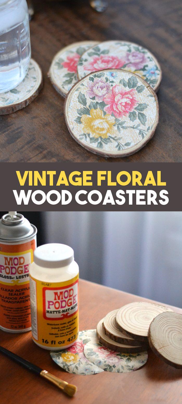 vintage floral wood coasters pinnable image