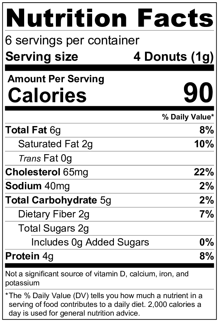 keto chocolate donuts nutritional information per serving