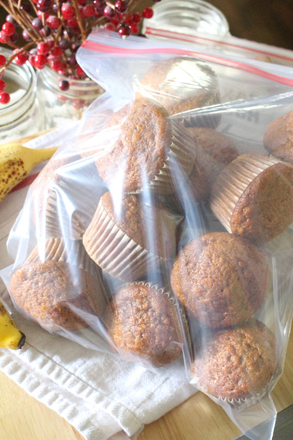 delicious banana bread muffin recipe in bag ready to freeze