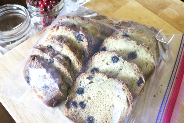 Sliced blueberry bread in freezer bags ready to freeze