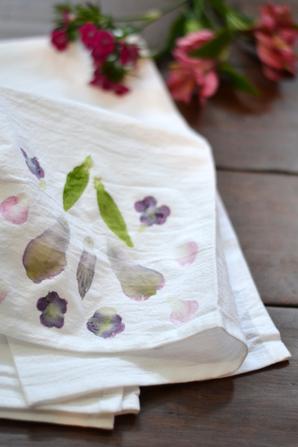 tea towel dyed with flowers