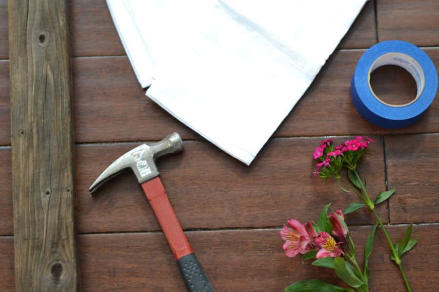 materials for naturally dying tea towels with flowers