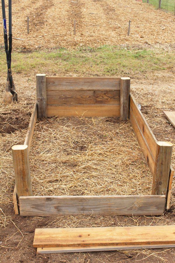 DIY raised garden beds in progress