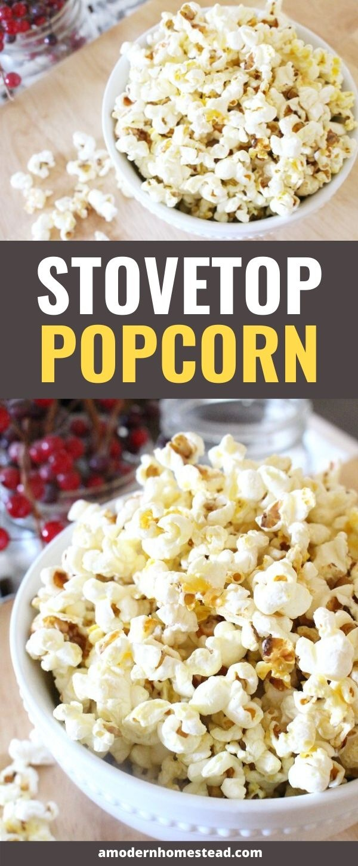 easy stovetop popcorn recipe pin