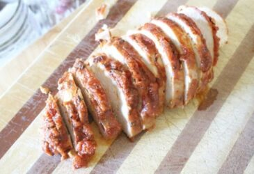 spaghetti sauce easy chicken marinade sliced on cutting board