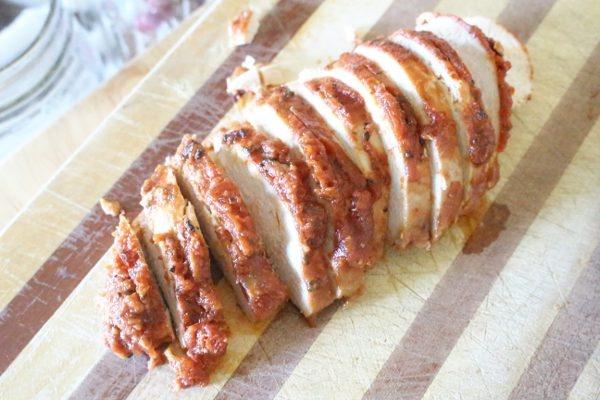 spaghetti sauce easy chicken marinade sliced on cutting board