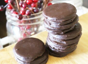 Einkorn homemade thin mint cookies in a stack