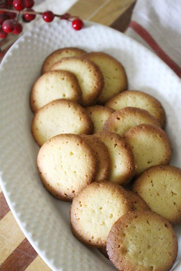 homemade vanilla wafer cooki recipe in white bowl