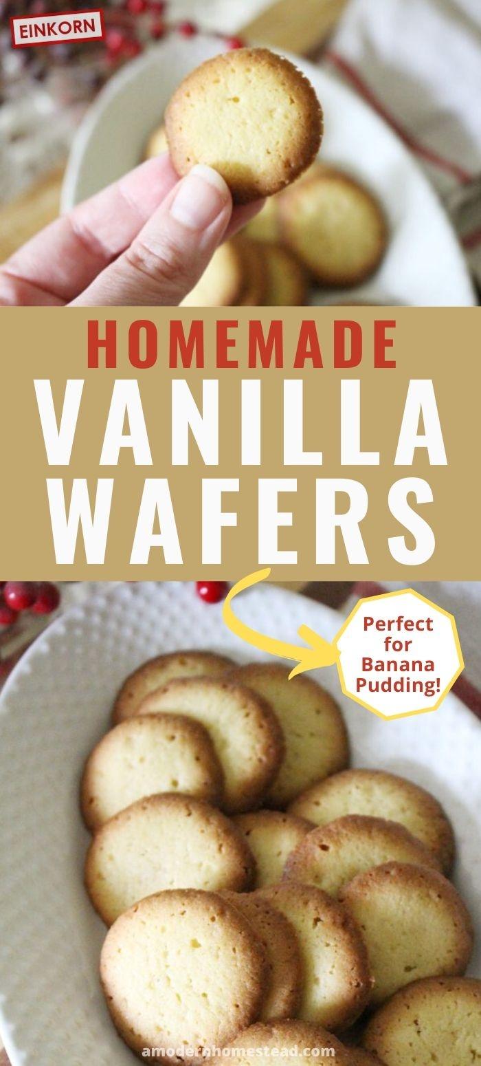homemade vanilla wafer cookie recipe pin