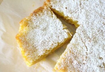einkorn shortbread lemon bar recipe with corner cut out