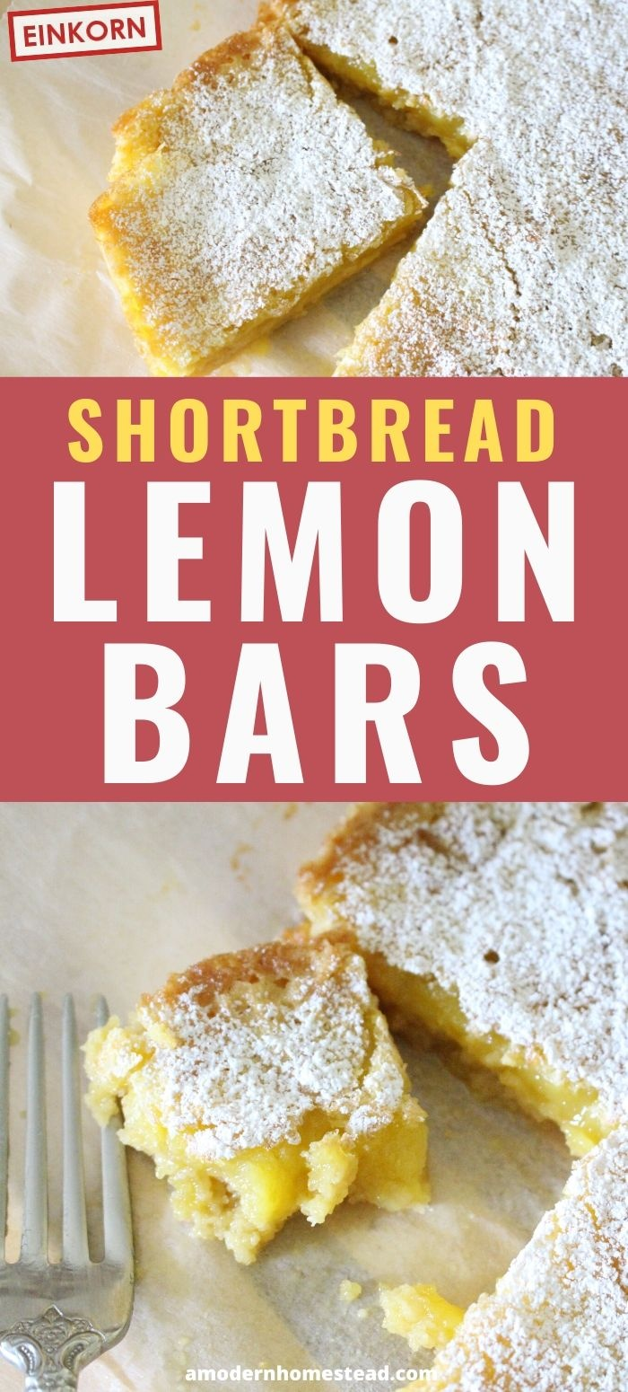 einkorn shortbread lemon bar recipe pin