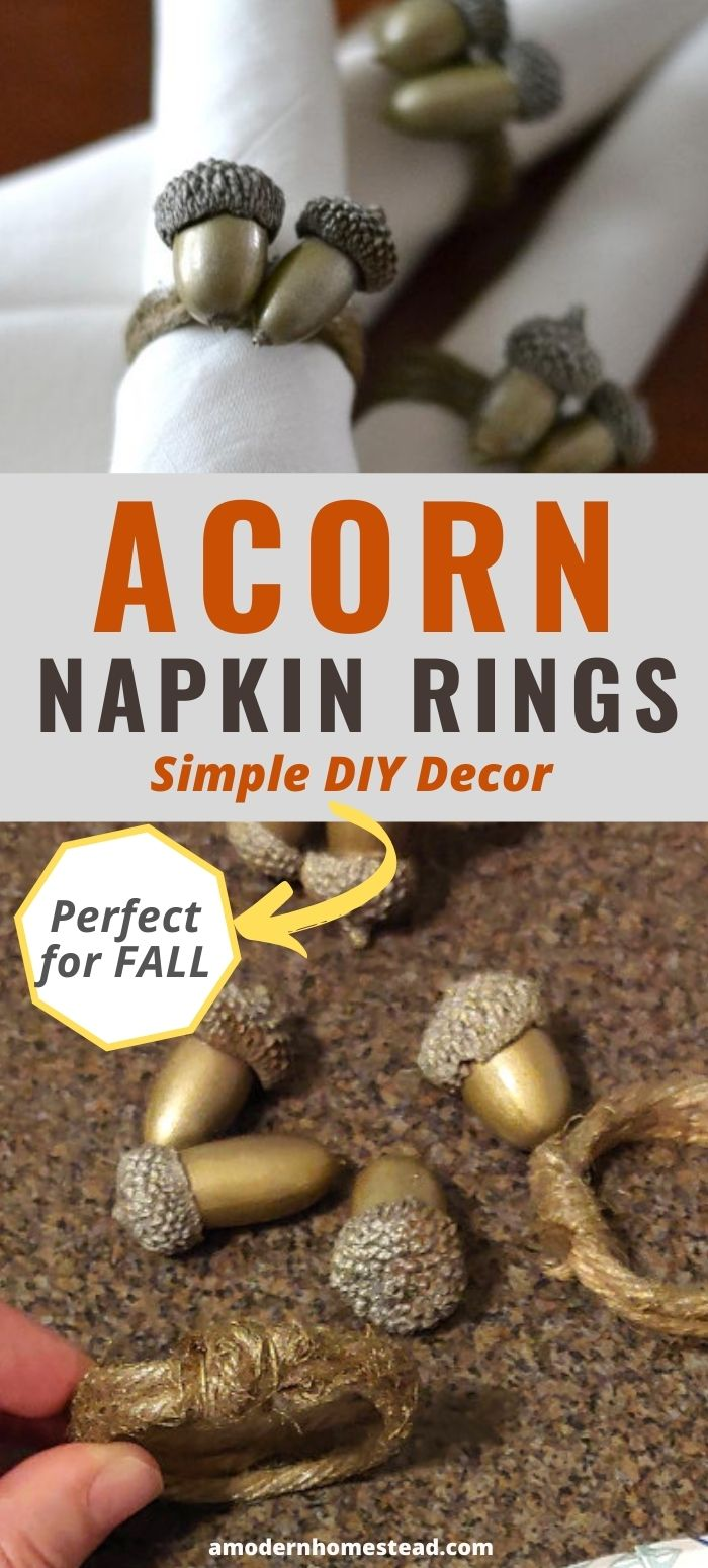 DIY acorn napkin rings holding napkins and sitting on a table