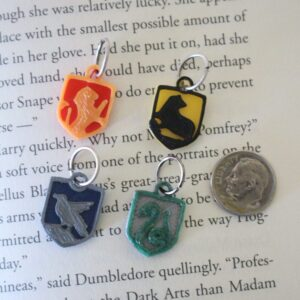 Harry Potter house crests knitting markers