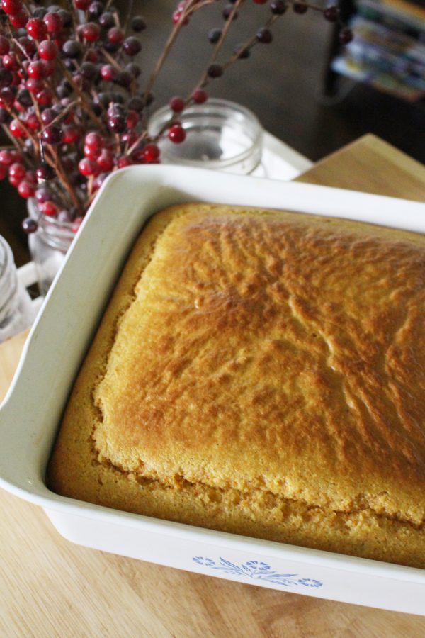 homemade einkorn cornbread in a white 8x8 pan