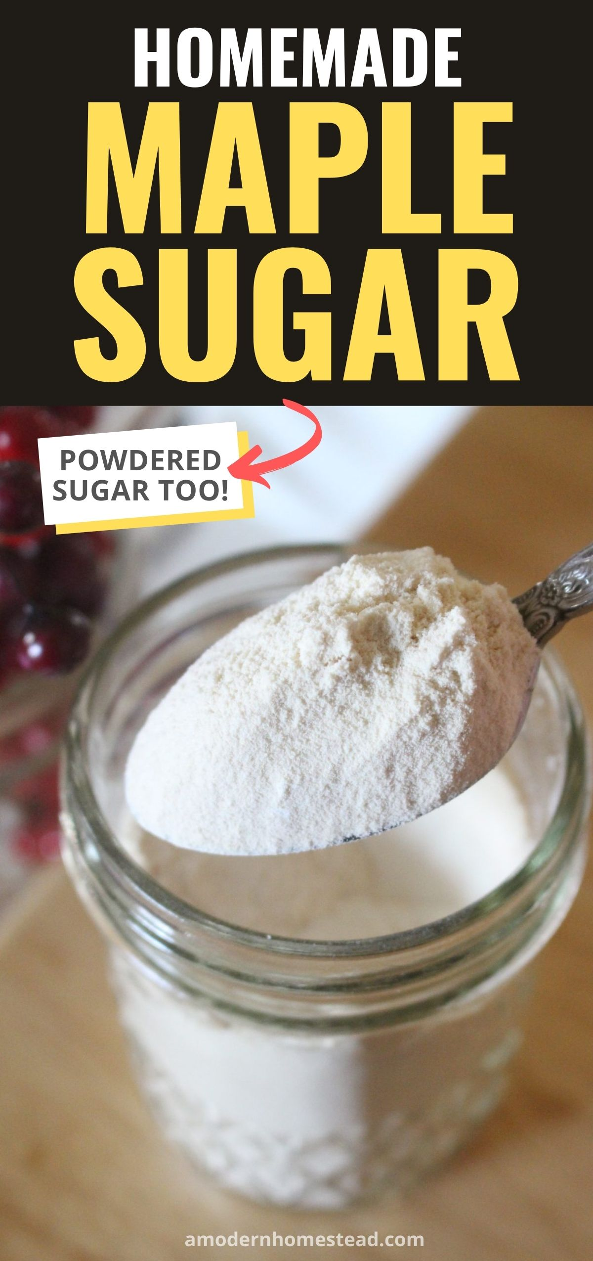 Finished powdered maple sugar in a glass jar