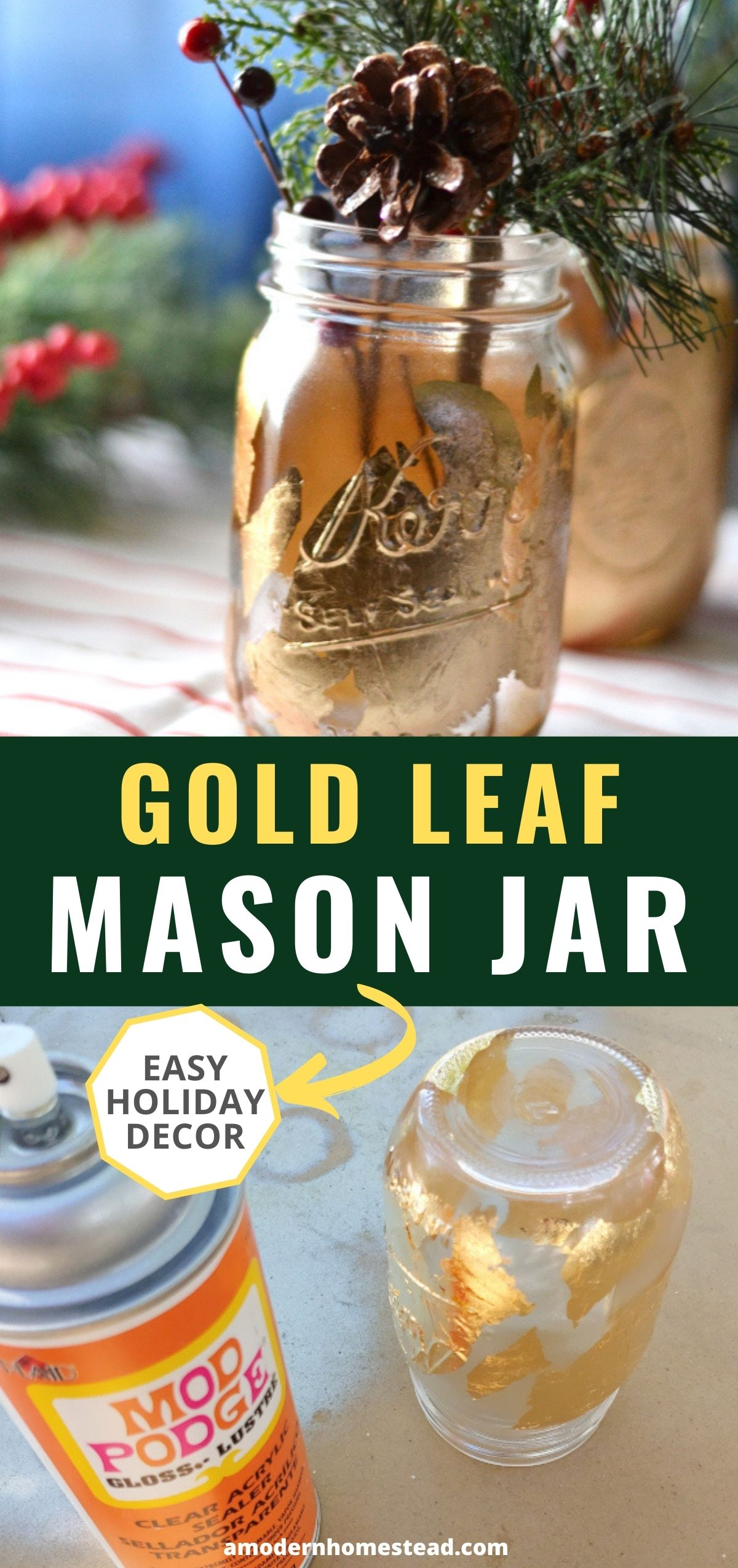 DIY fold leaf mason jar vases pinnable image