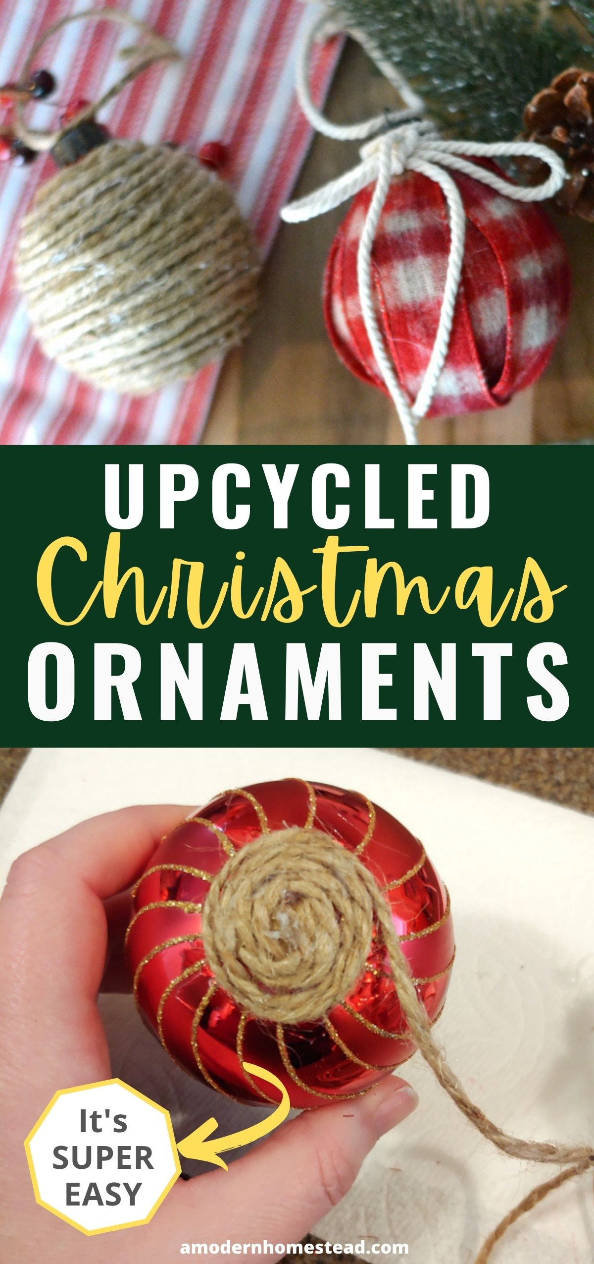 upcycled DIY christmas ornaments pinnable image