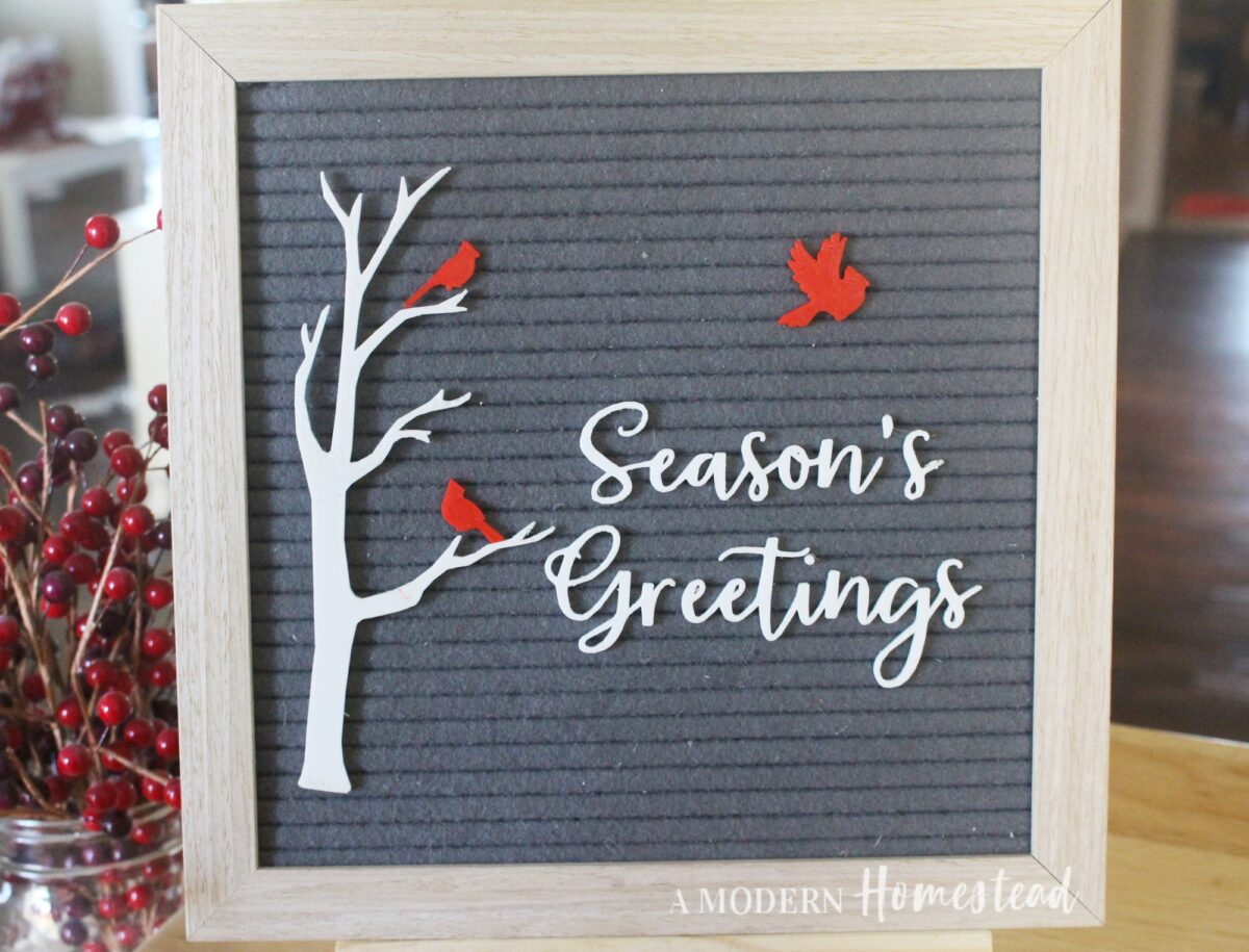 Birch Tree and Cardinal Birds with Season's Greetings Words Letter Board Accessories Icon Set on Gray Letterboard