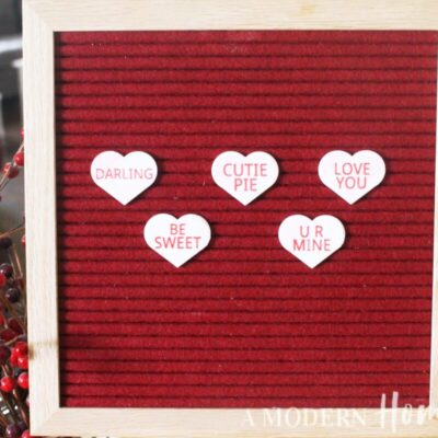 Candy Hearts Letter Board Icon Set on red letter board
