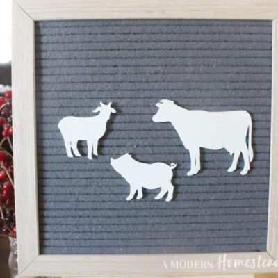 Farm Animal Letter Board Icons in the shape of a pig, goat, and cow