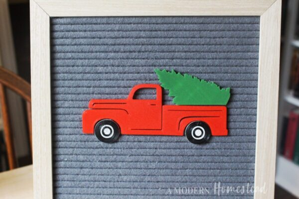 Vintage Christmas Truck with Christmas Tree Letter Board Icons