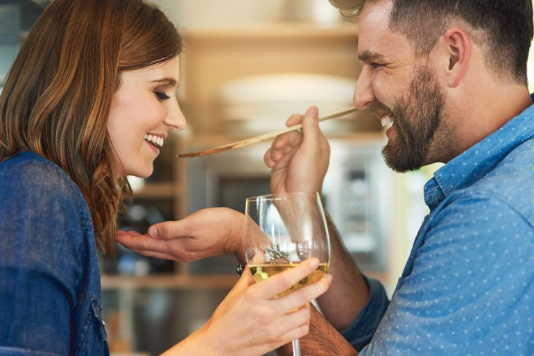 food to boost your sex drive, couple eating dinner