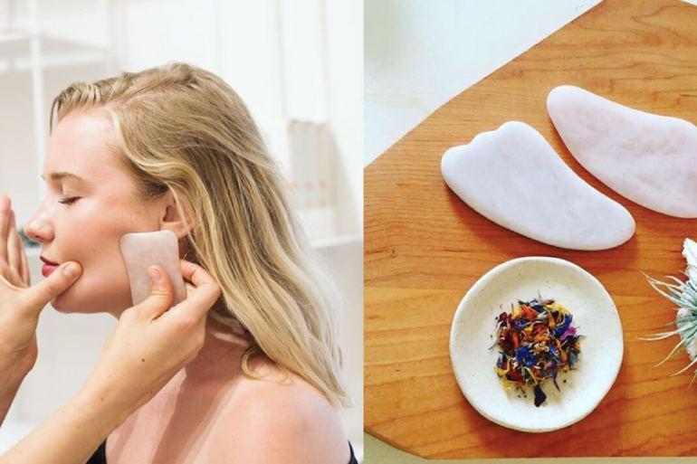 Images of gua sha tools and a woman having a gua sha facial.