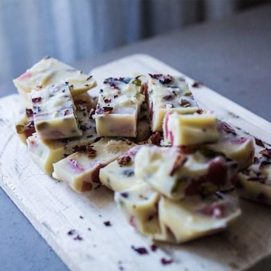 A Dairy-Free Pistachio & Rose Jelly White Chocolate Bar Recipe