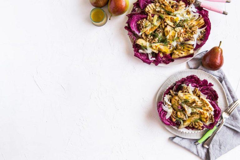 haloumi and pear salad