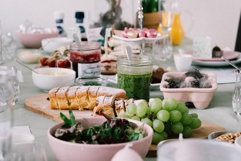 vegan recipes, healthy dinner table spread