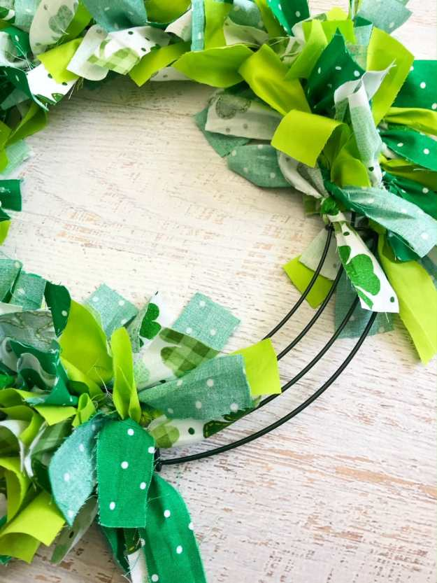 tying the green strips onto the shamrock wreath can be time consuming.
