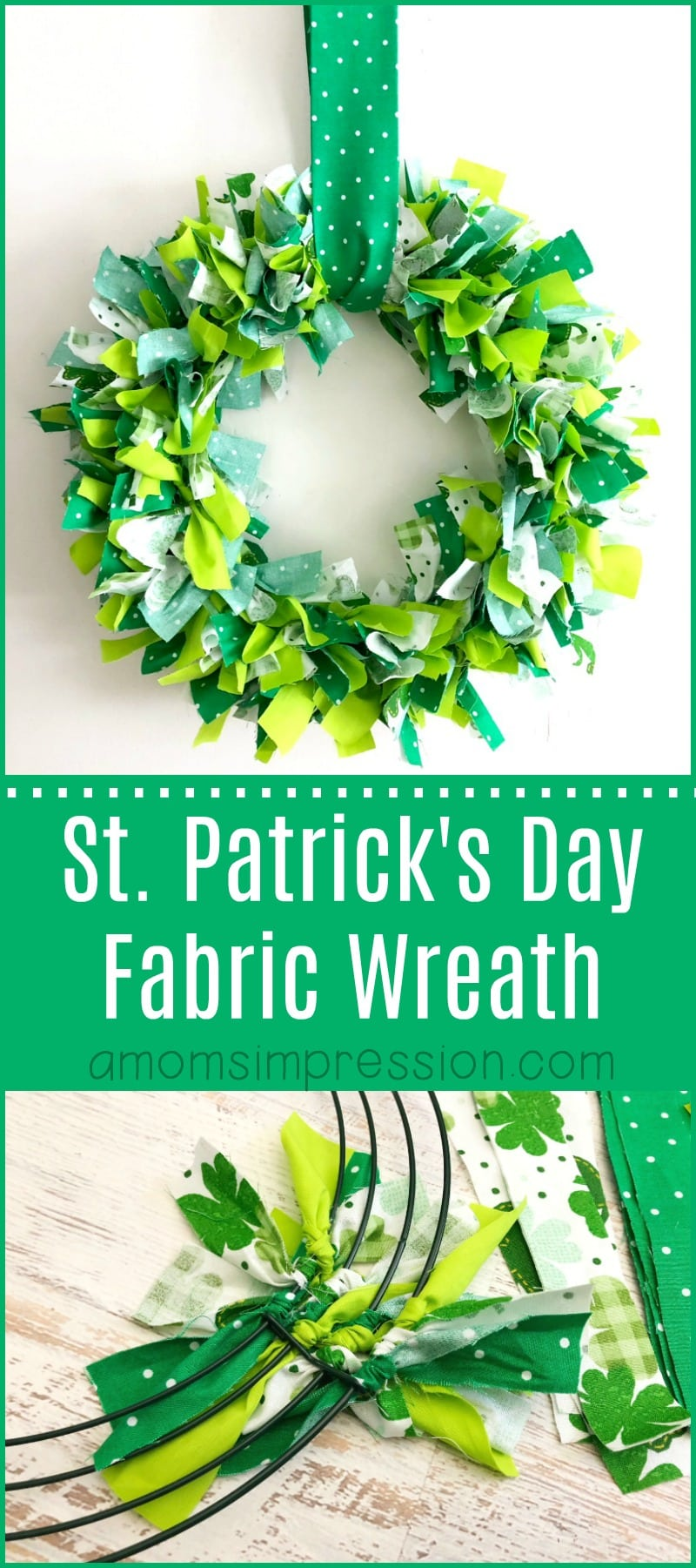 This fabric shamrock wreath is easy to put together and is the perfect addition to your St. Patty's decor!