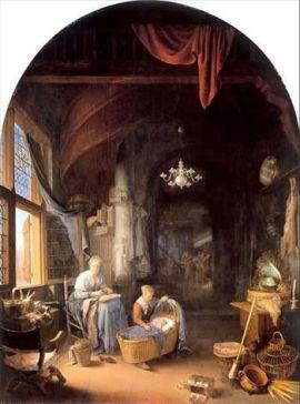 Gerrit Dou. Joven madre. 1658