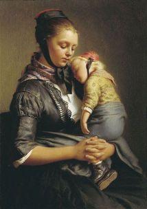 Gerhard Wilhelm von Reutern. Peasant woman from Willenshausen with a sleeping child. 1843