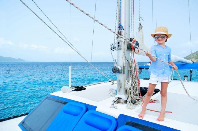 Little girl at luxury yacht