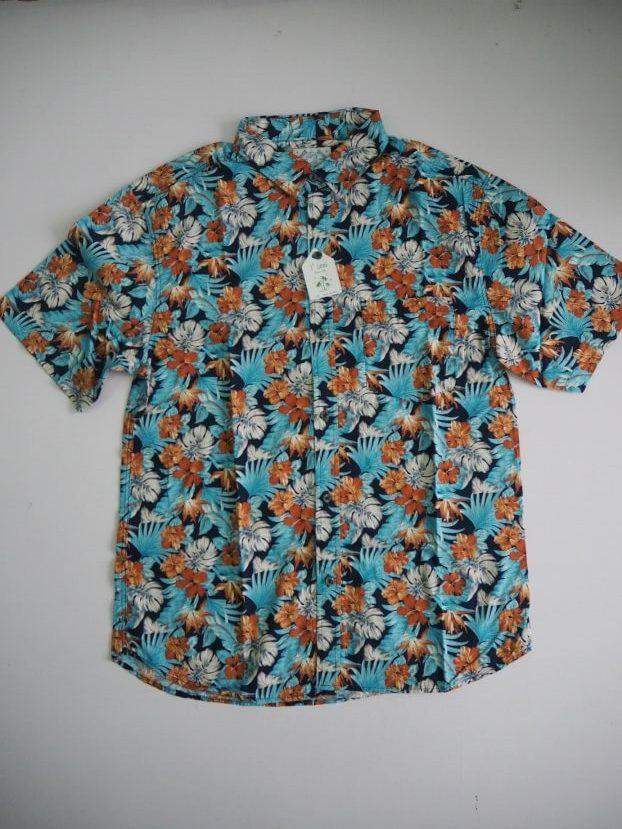 Blue Orange Floral Shirt