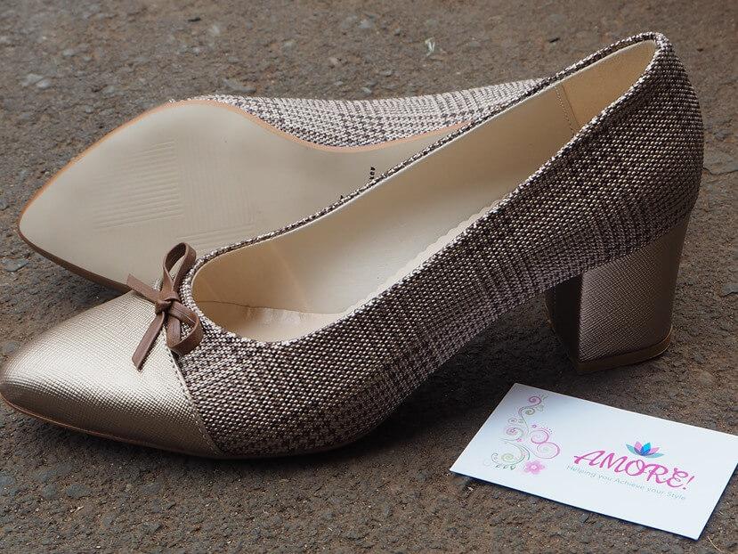 Brown Checked Block Heel