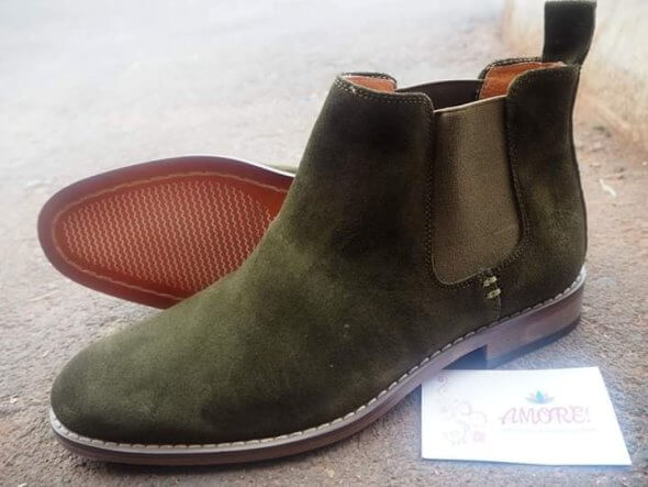 Jungle green suede chelsea boot