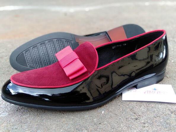 Red black wetlook slip on
