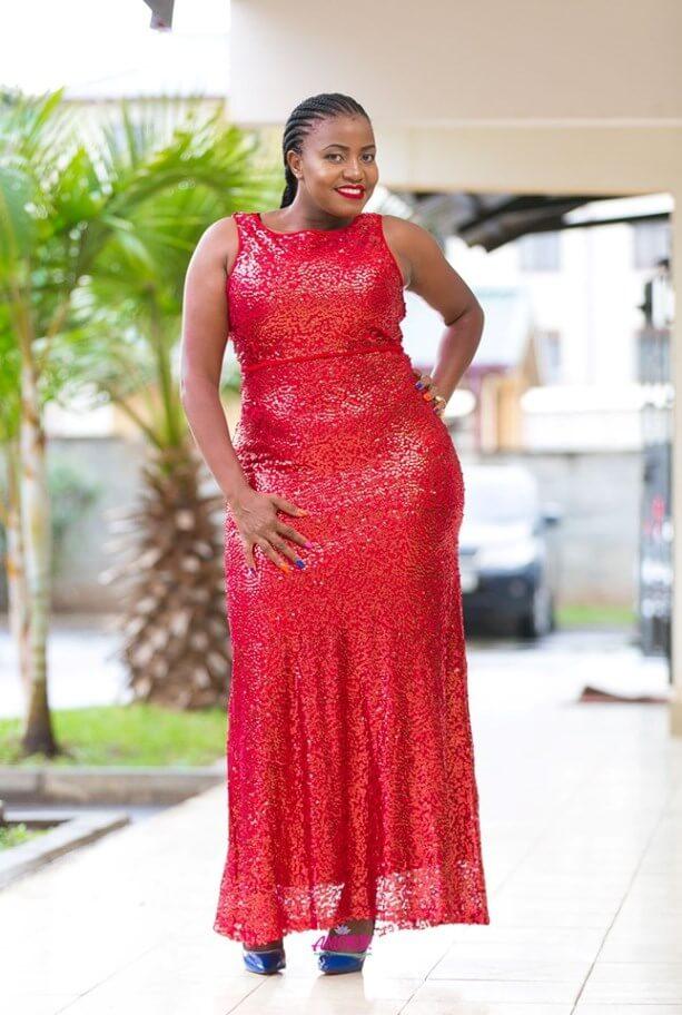 Red sequin dinner dress