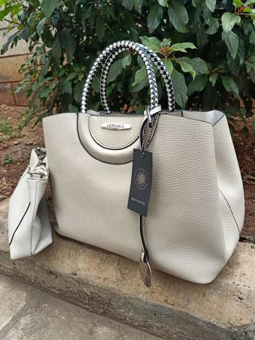 Beige silver striped straps bag