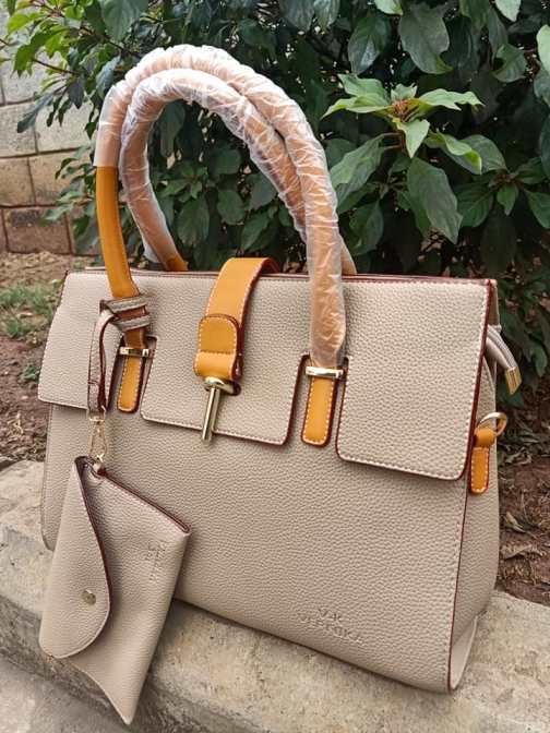 Khaki brown & orange bag