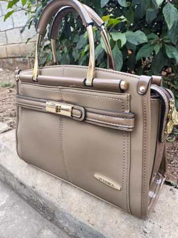 Khaki brown wetlook finish bag