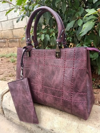 Maroon thread striped bag